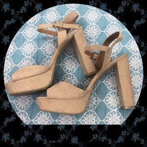 Open toe Beige high heels